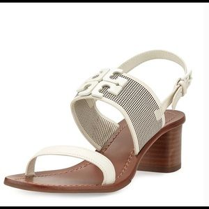 Tory Burch Lowell Perforated Logo Leather Sandals